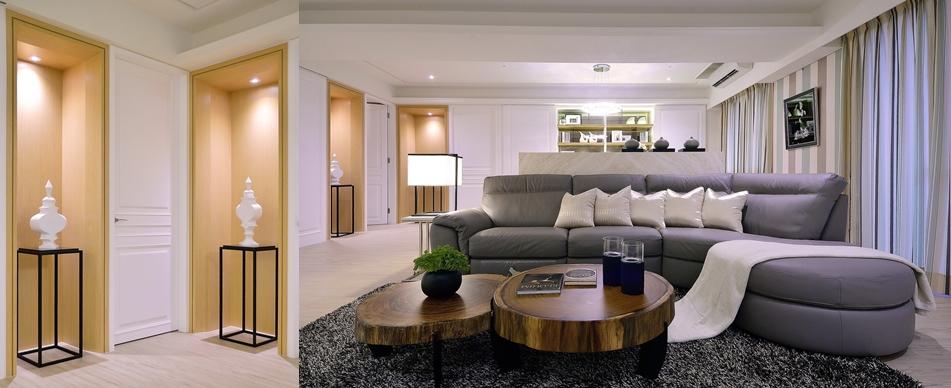 【住宅設計】林口冠東方黃公館-美式簡約居家風客廳-端景
