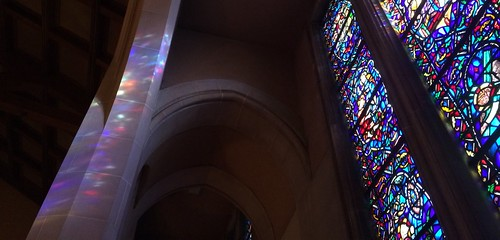 Winter afternoon sun shining through stained glass windows, First Baptist DC