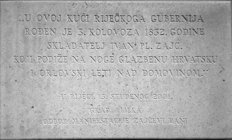 Ivan Zajc spomen ploča na rodnoj kući