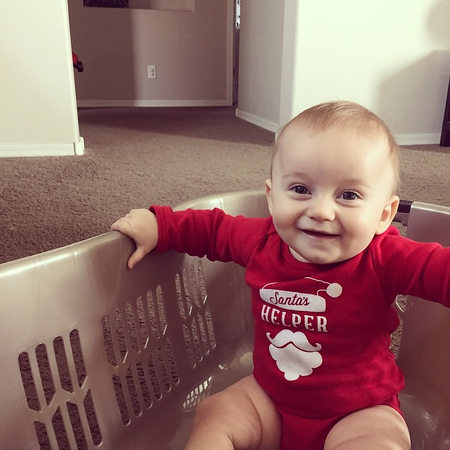 Getting pushed around the house in a laundry basket is apparently the most fun ever! #babyfluffandfold by bartlewife