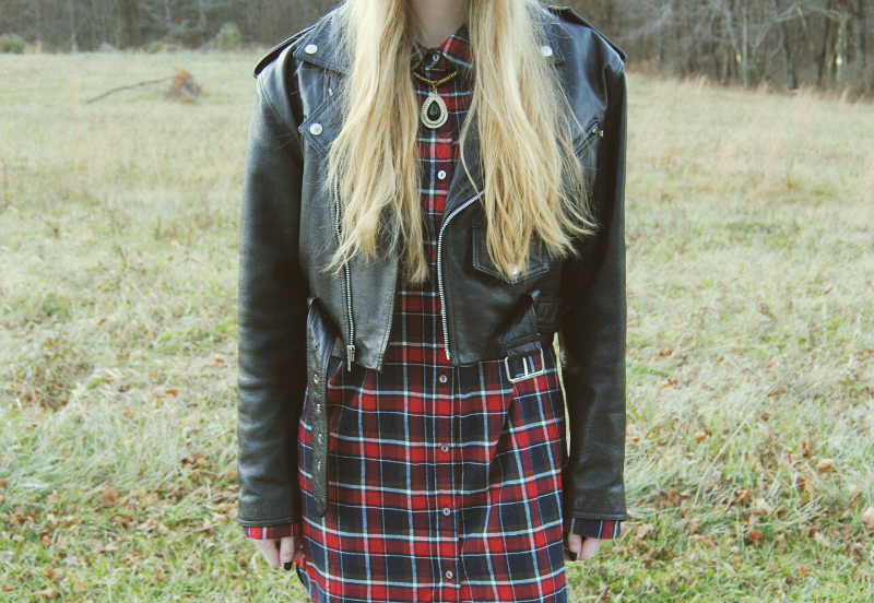 VintageLeatherJacket_RedPlaidShirtDress