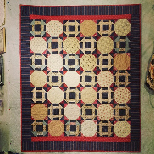 Finished Quilt - Vintage Churn Dash + Snowballs