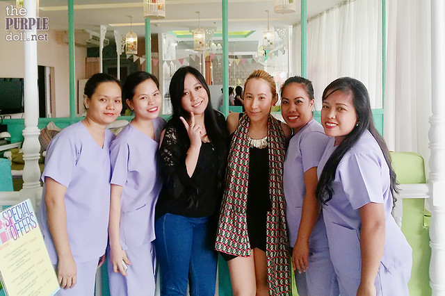 With the friendly staff at Make Me Blush Nail Spa