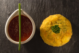Salmon fishcake with red pepper sauce