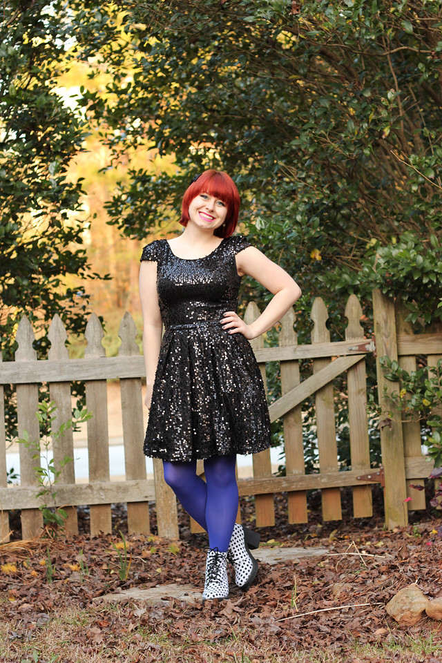 Black Sequined Fit and Flare Dress, Blue Tights, and Polka Dot Lace Up Boots