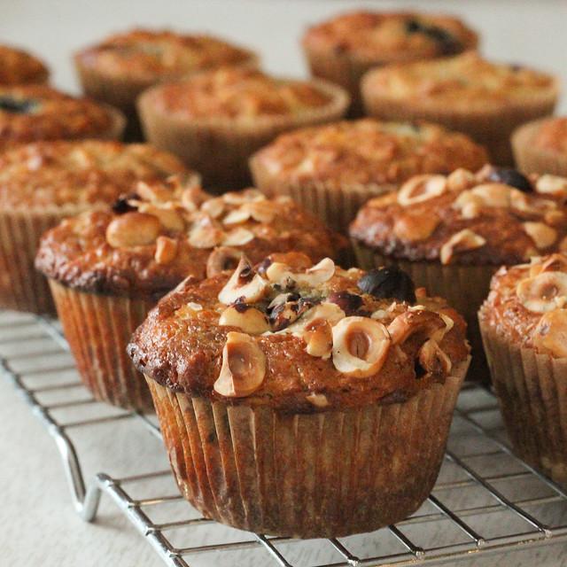 apple blueberry hazelnut muffins.