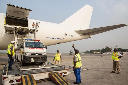 airplane airport ambulance unitednations ebolaresponse unmeer unitednationsmissionforebolaemergencyresponse photomartineperret