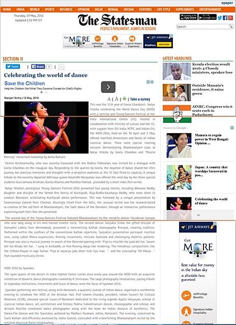 Statesman covers SPANDAN Fest of performing Arts