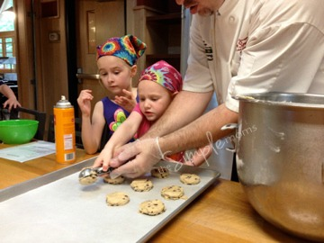 baking cookies at camp
