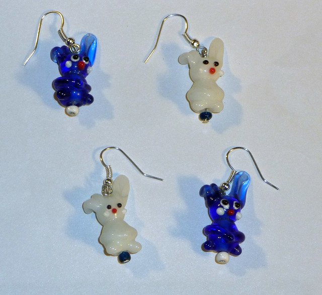 Blue and White Bunny Earrings
