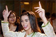 Mumba: Bollywood actor Amy Jackson dancing in the immersion procession during Ganesh chaturthi celebrations.