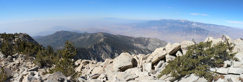 Panorama view northwest to Fuller Ridge, Mount Baldy, and San Gorgonio Mountain from the Folly Peak Summit