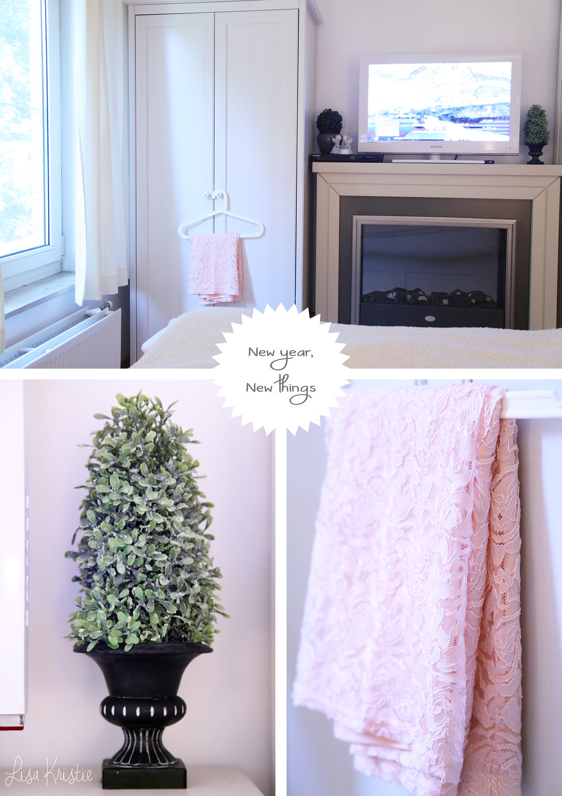 home interior bedroom decoration white winter themed ikea scandinavian pink lace skirt fake plants tree frosted buxus miniature pot fireplace samsung tv flatscreen bed