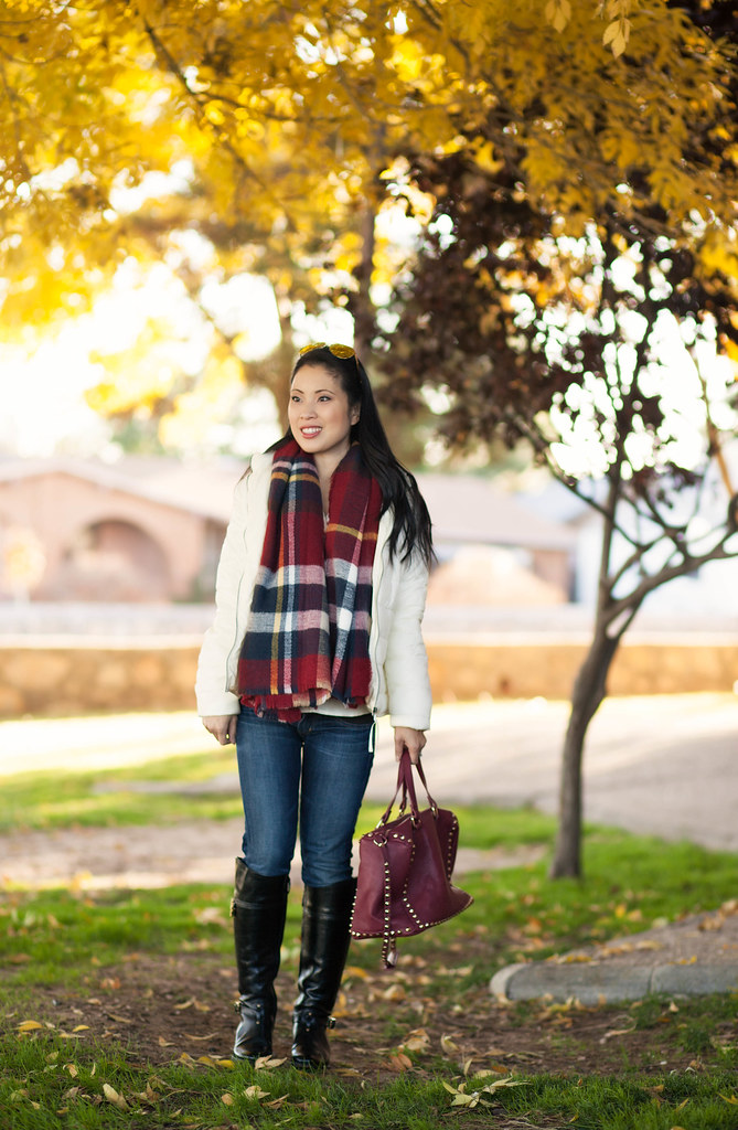 cute & little blog | petite fashion | jcp white puffer jacket, zara red checked blanket scarf, citizens of humanity jeans, tory burch eloise boots | maternity third trimester | 31 weeks