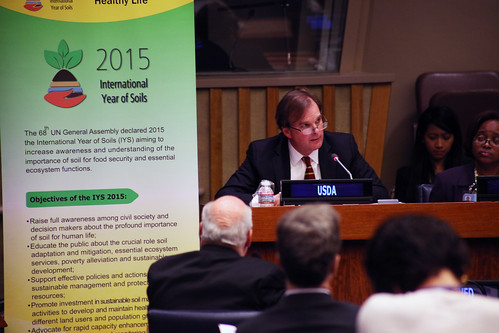 U.S. Department of Agriculture (USDA) Natural Resources and Environment (NRE) Under Secretary Robert Bonnie speaks during a celebration event marking the launch of The International Year of Soils at the United Nations headquarters in New York on Dec. 5, 2014. Friday is also the 1st World Soil Day. USDA photo by Zack Baddorf.
