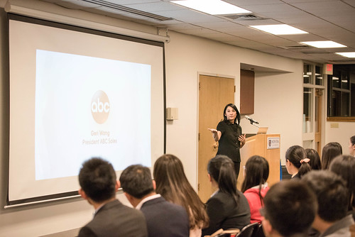 "Zarb Executive Speaker Series:  Geri Wang, President, Sales and Marketing, ABC TV Network, New York discusses ""Videobiquity"" with Zarb graduate students."
