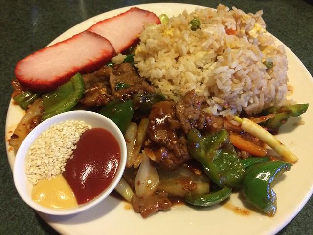 Szechuan garlic beef lunch combination - Judy Fu's Snappy Dragon