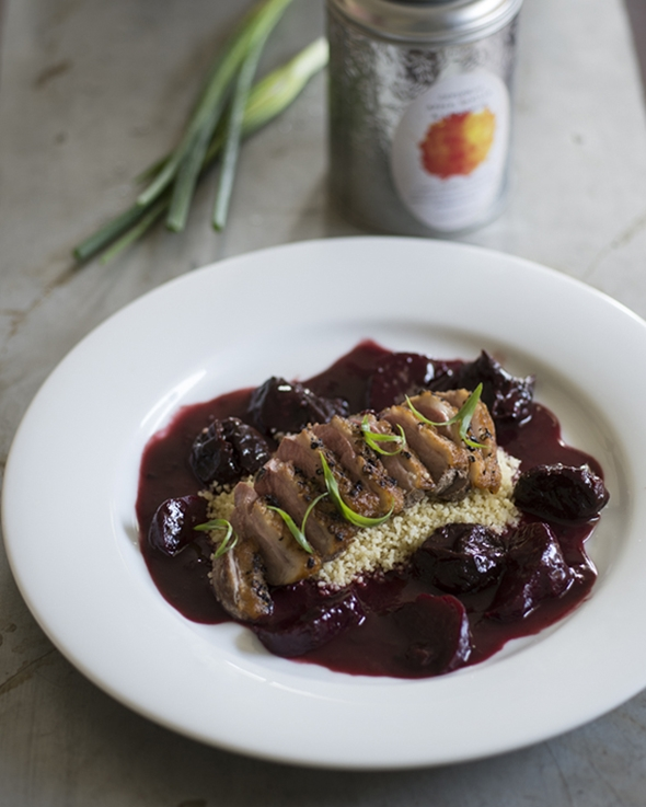 Peppered-duck-breast-with-roasted-beetroot-tea-soaked-prunes-and-Mograbieh