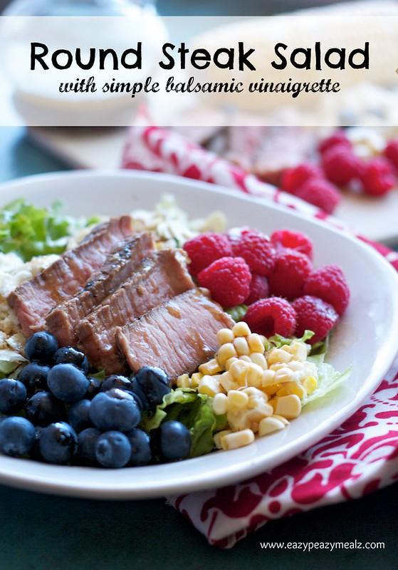 Round Steak Salad on a white plate.