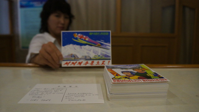 Sending DPRK postcards from the Yanggakdo International Hotel