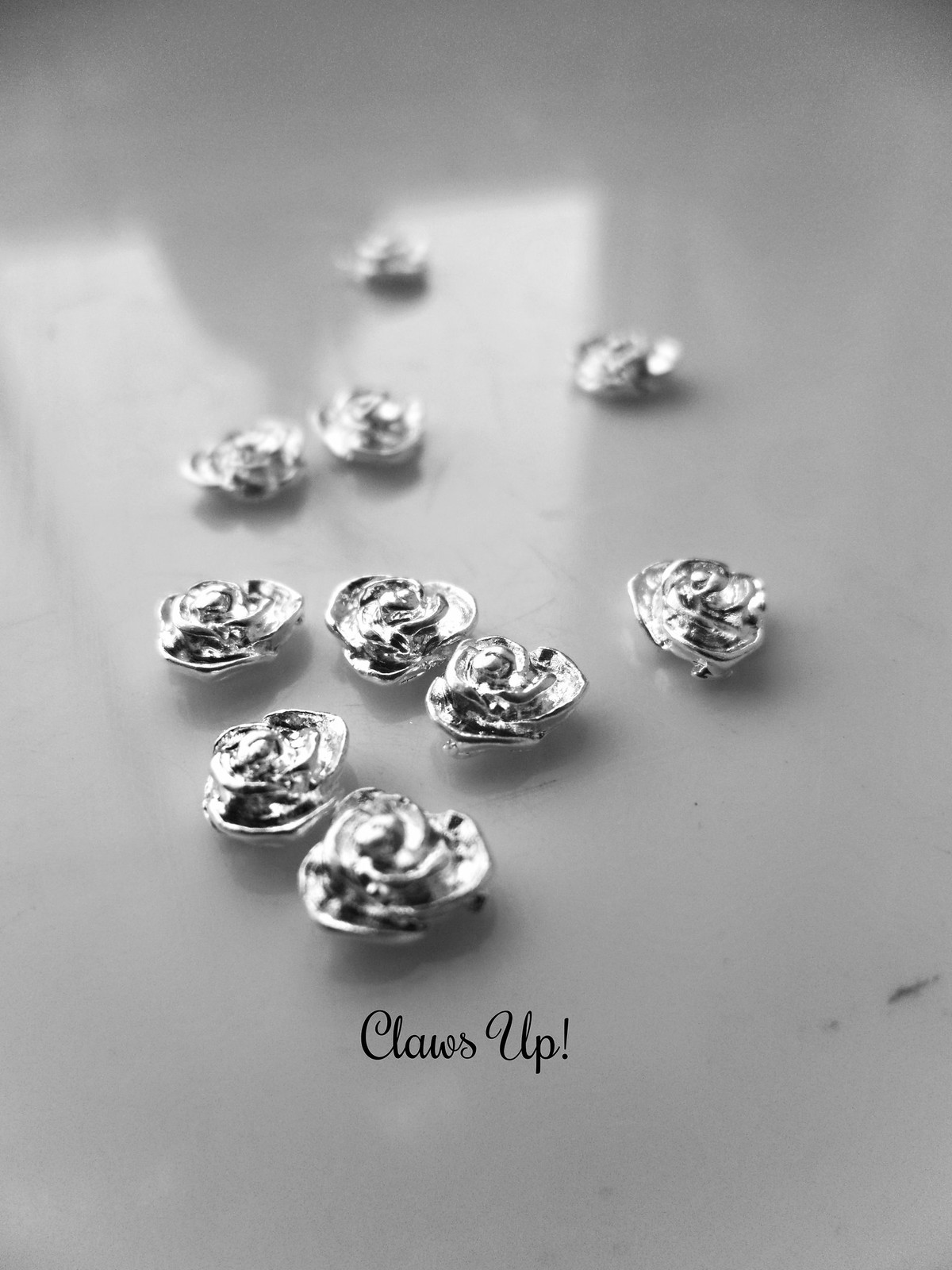 Born Pretty Store Silver Rose Nail Studs