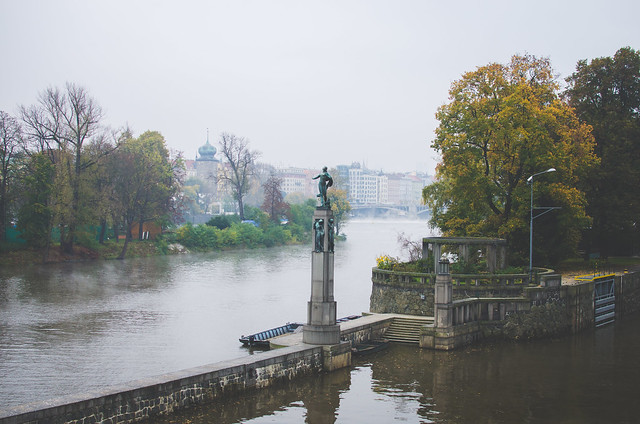 A misty morning over the Vltava River in Prague.