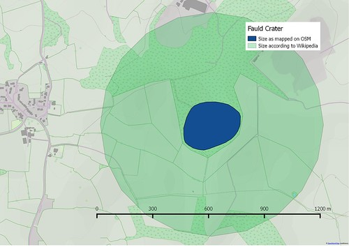 Size of Fauld Crater according to wikipedia