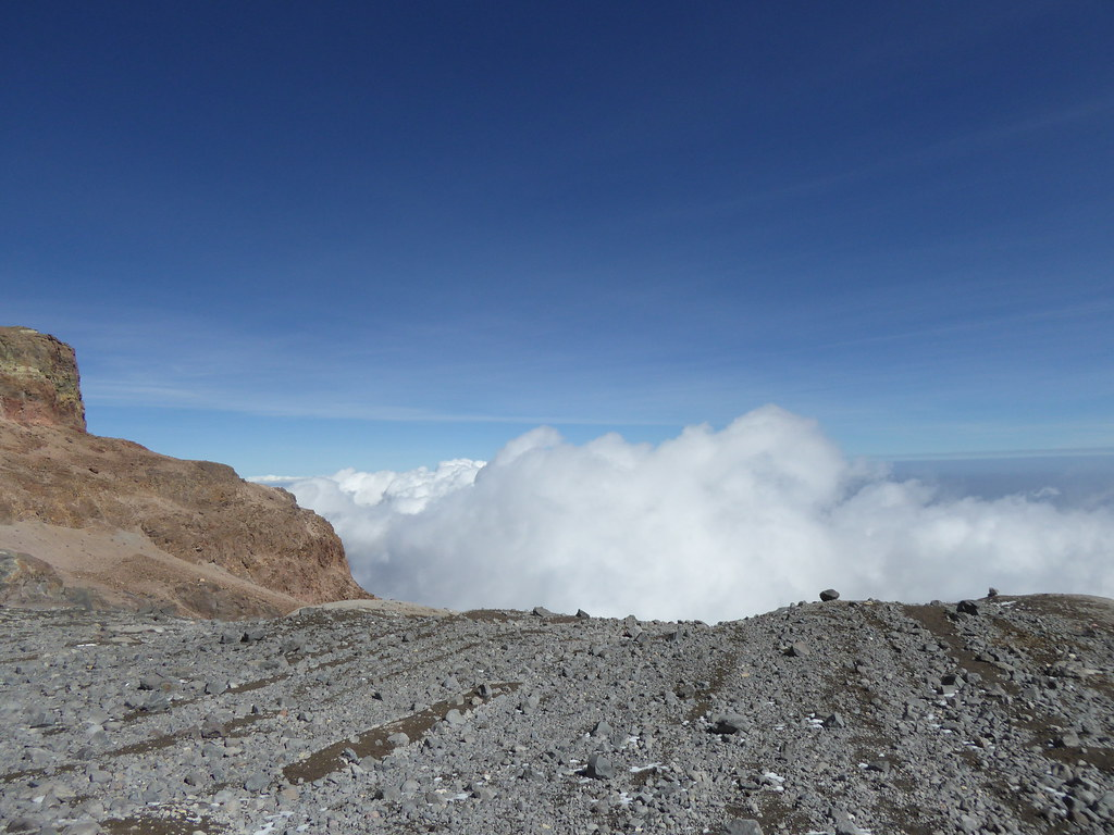 Clouds billow at the foot of the Jamapa Glacier on Pico de Orizaba