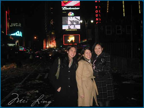 Mei in Times Square with Lena's friends in the aftermath of NYE