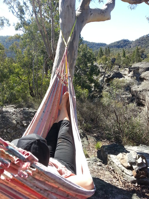 Kaz enjoying the hammocktime view at Time_Place_Space: Nomad