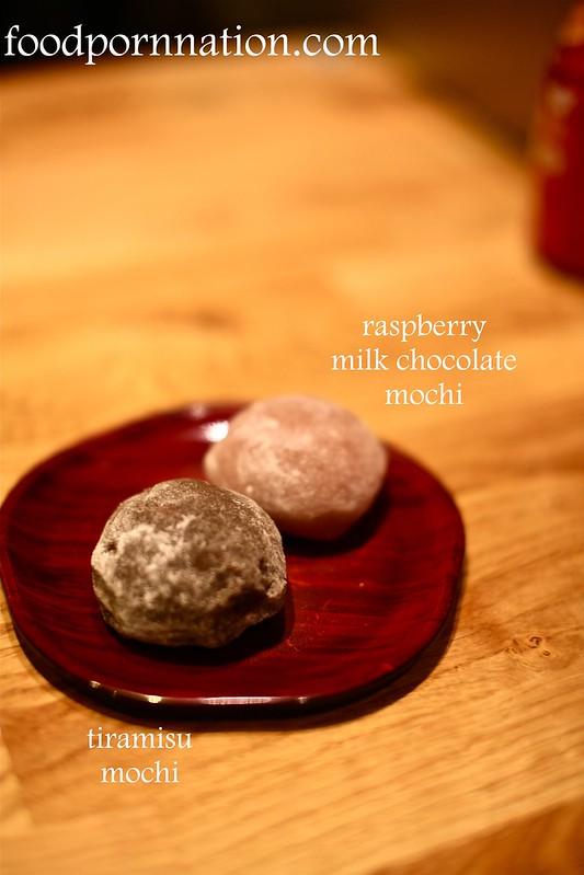 truffle mochi & raspberry milk chocolate mochi