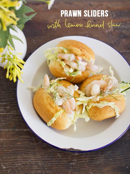 prawn sliders with lemon fennel slaw