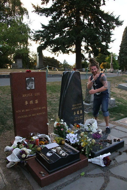 Bruce Lee's Grave.   Seattle, Washington.