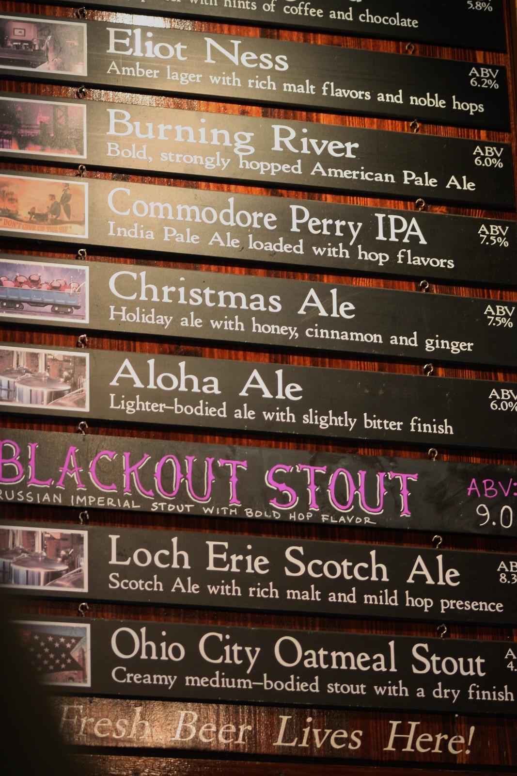 Beer Menu Great Lakes Brewery