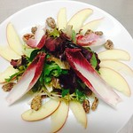 Winter Salad: Red Apple, Red Endive, Candied Virginia & Spanish Pecans, Winter Mix, & Rhody Maple Balsamic Dressing