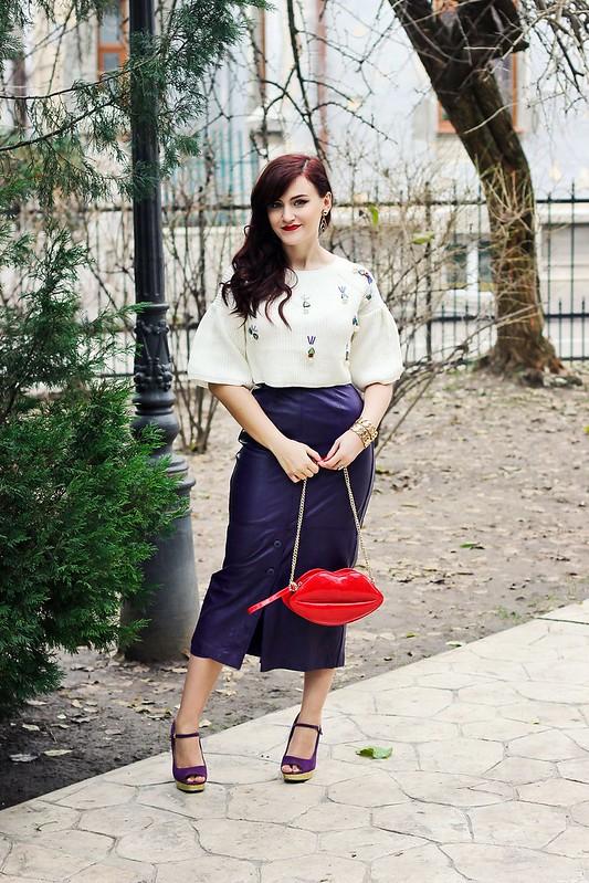 purple leather skirt1,vintage skirt,leather skirt,sheinside sweater