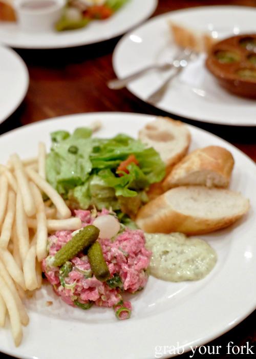 Beef tartare at Bistro Papillon, Sydney