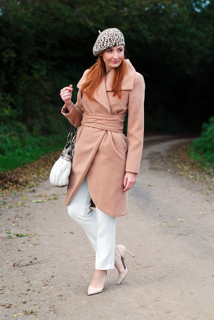 Camel coat and winter whites