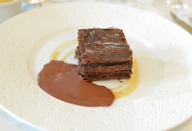 chocolate millefeuille with ice cream