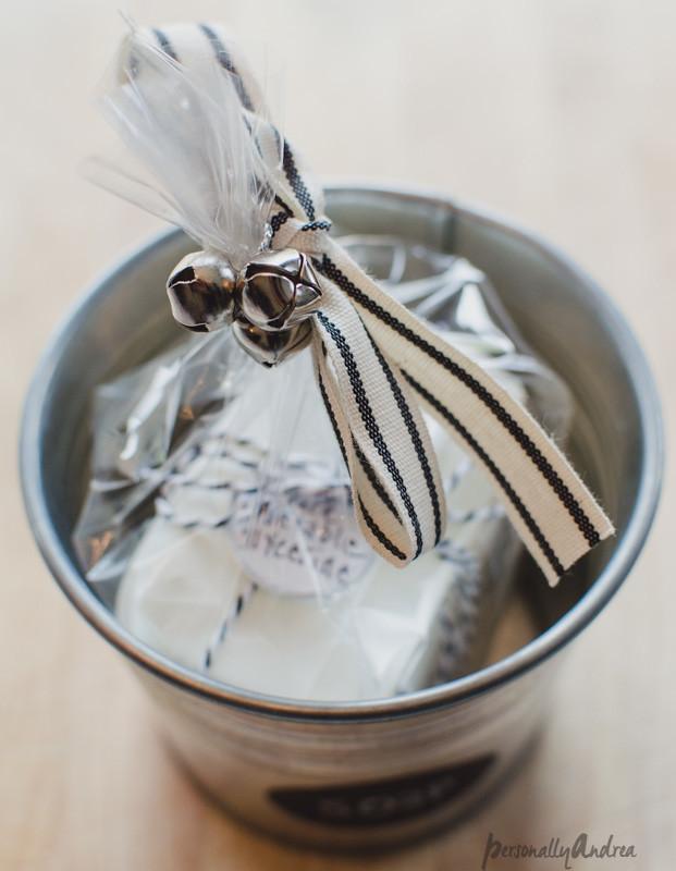 Soaps repackaged for gifts   IKEA SOCKER pots, ribbon, jingle bells   personallyandrea.com
