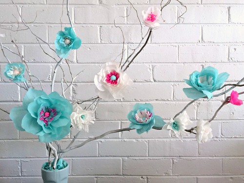 Tissue Paper Flowers on Branches