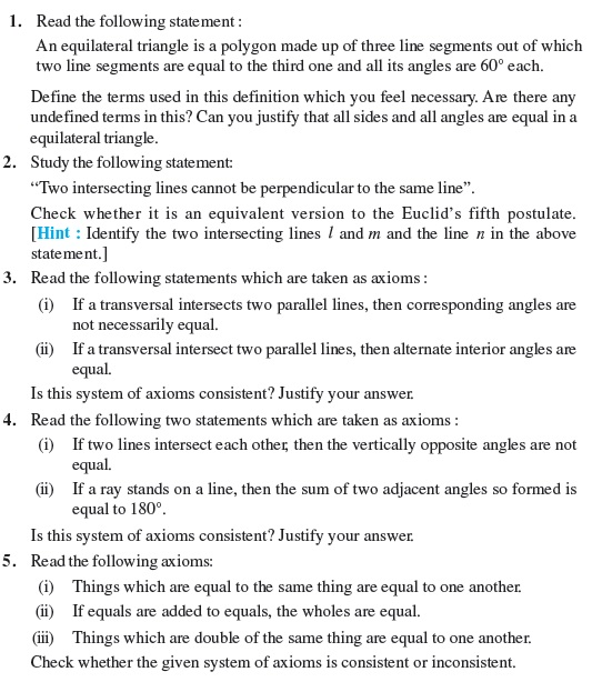 Class 9 Important Questions for Maths - Introduction to Euclid's Geometry