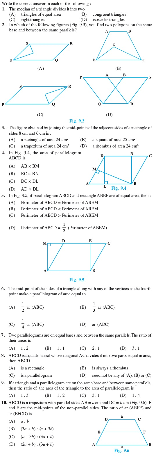 Class 9 Important Questions for Maths – Areas of Parallelograms and