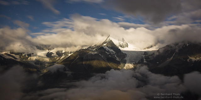 Moonlight and clouds at Weisshorn N°1