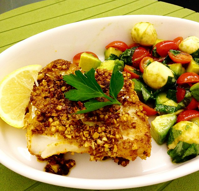 Dijon Almond Crusted Cod | Caprese Salad with Avocado