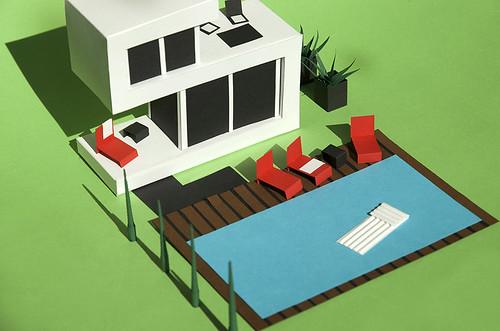 Paper Sculpture Modern House