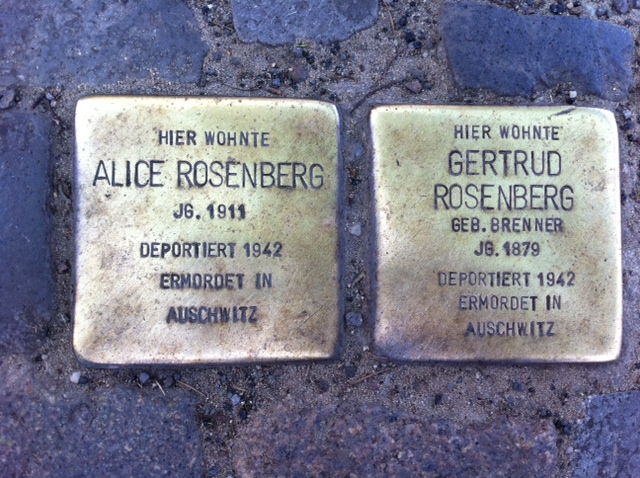 Photo of Alice Rosenberg brass plaque