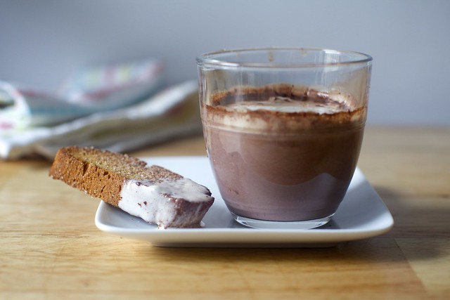 gingerbread biscotti + decadent hot chocolate