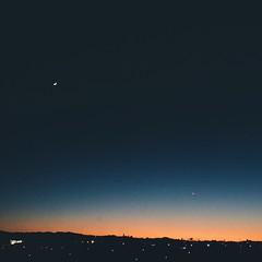 11/25/14  A little moon cameo.  #twilight #losangeles #dailynature #naturelovers #vscocam #vsco
