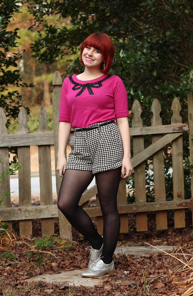 Pink Sweater with Houndsooth Shorts and Silver Oxfords